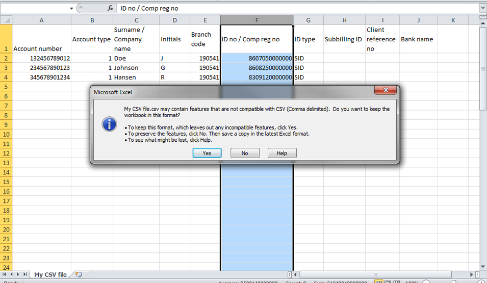 NetBank Business: Creating a batch file in CSV format that